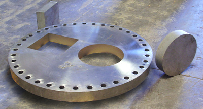 52-inch-diameter-4-inch-thick-stainless-steel-pressure-vessel-flange that used water jet metals cutting.